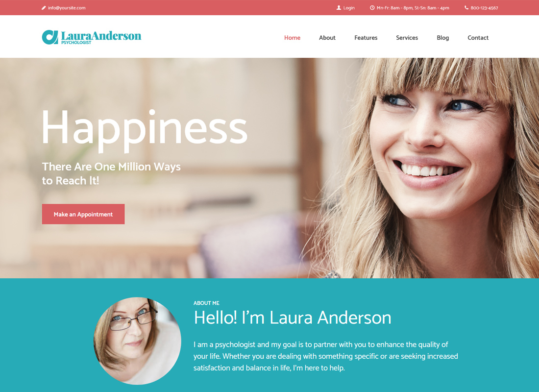 Laura Anderson | Psychologist, Therapy and Counseling WordPress Theme