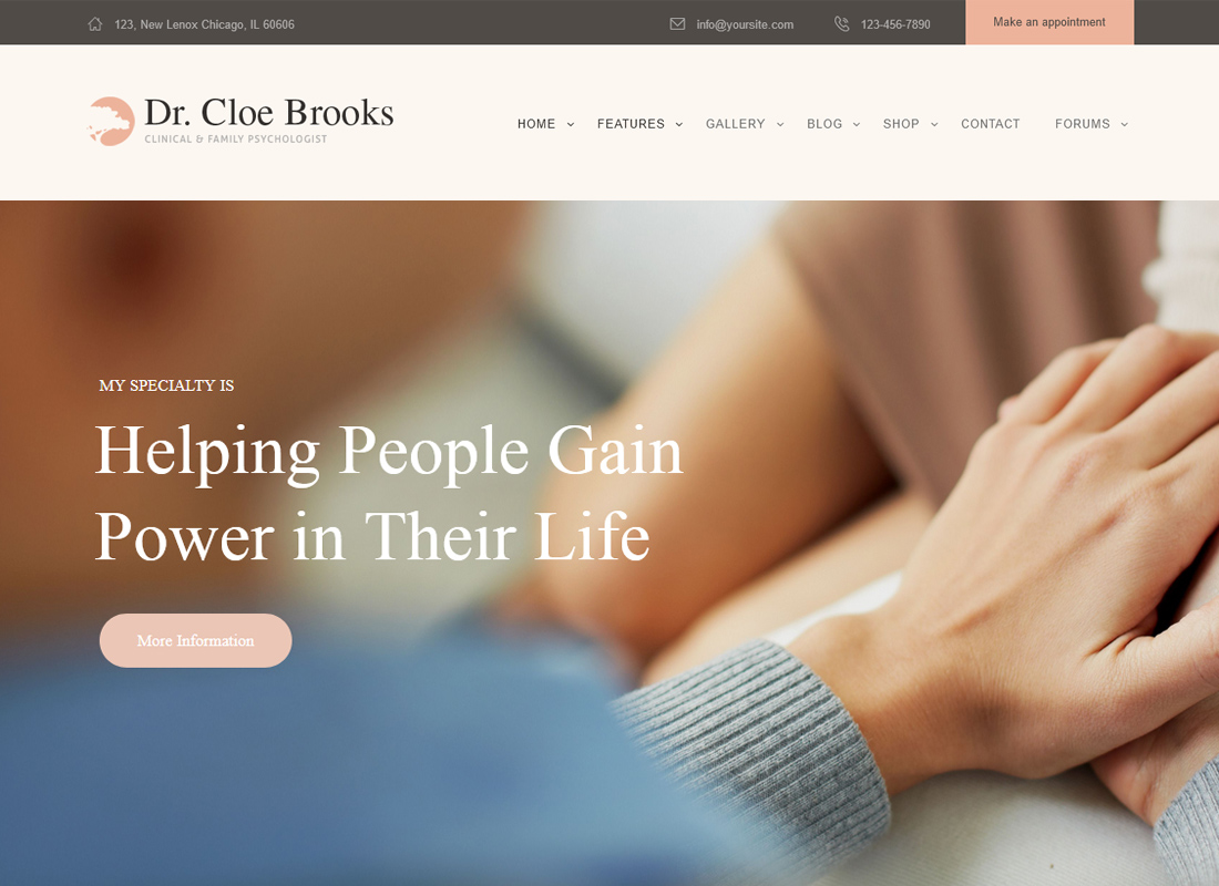 Dr.Cloe Brooks | Psychology, Counseling and Medical Site Template