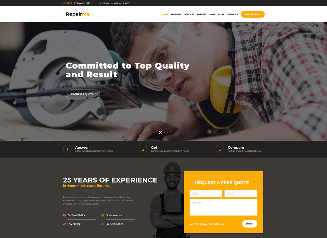 RepairMe - A Vibrant Construction & Renovation WordPress Theme