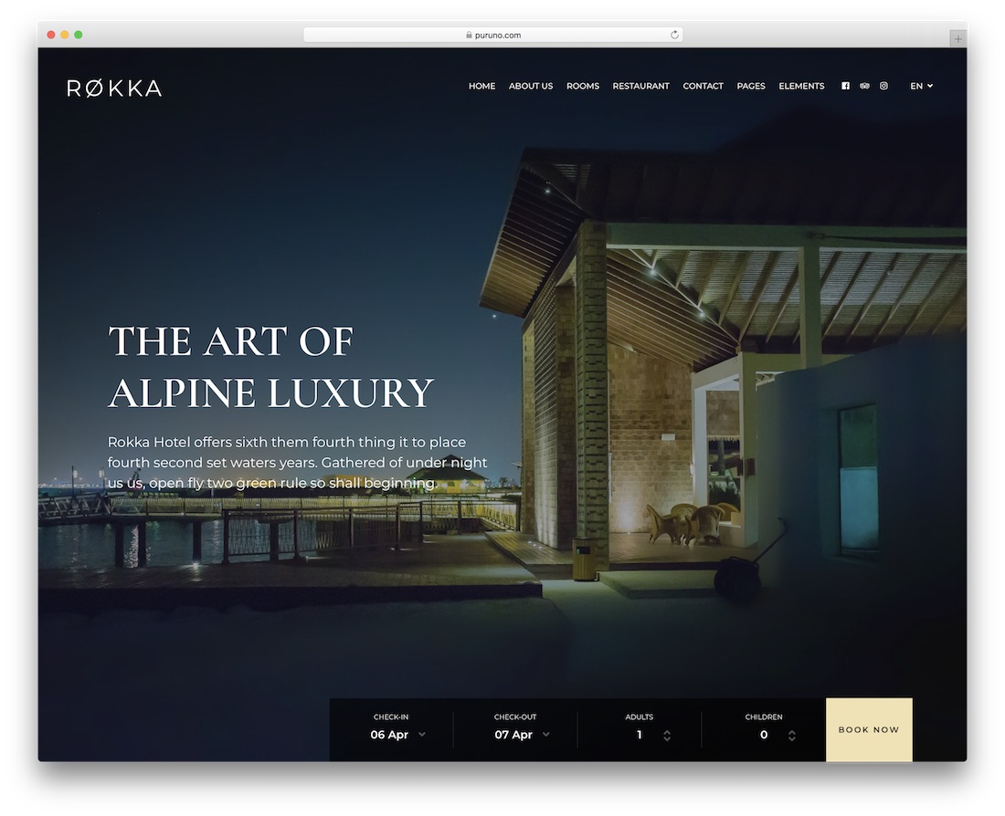 rokka hotel wordpress theme incredible design
