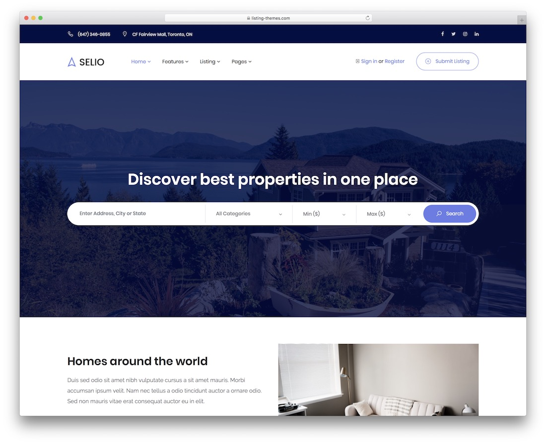 selio real estate website template