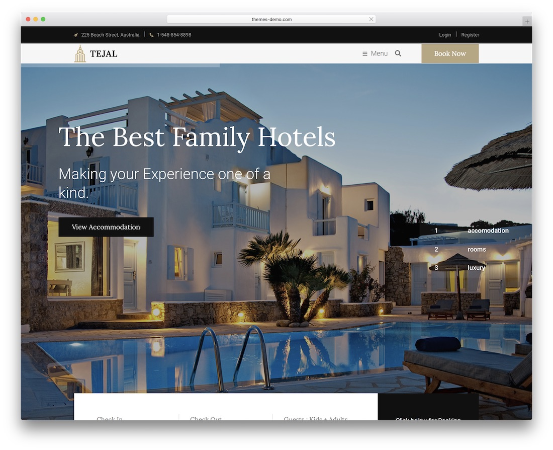 teja hotel wordpress theme incredible design