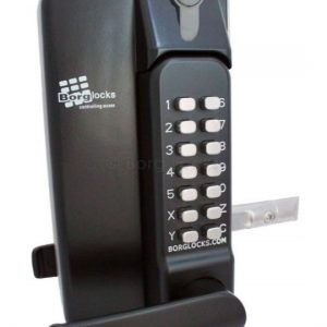 Metal Gate Lock With Lever Handle Keypad Both Sides With Key Override 65-80mm Latch