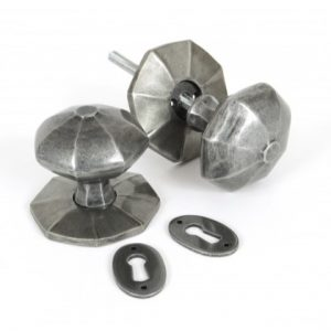Large Octagonal Mortice/Rim Knob Set - Pewter