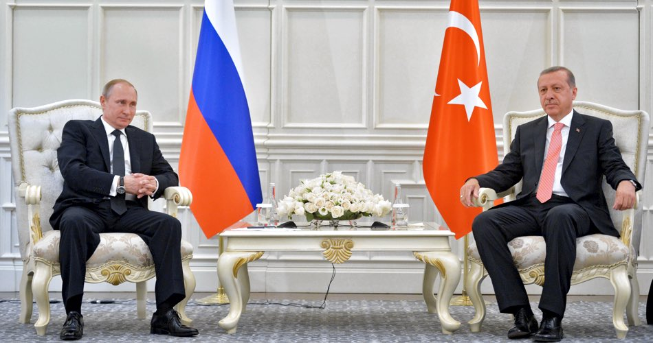 Russian President Vladimir Putin meets with President of Turkey Recep Tayyip Erdogan