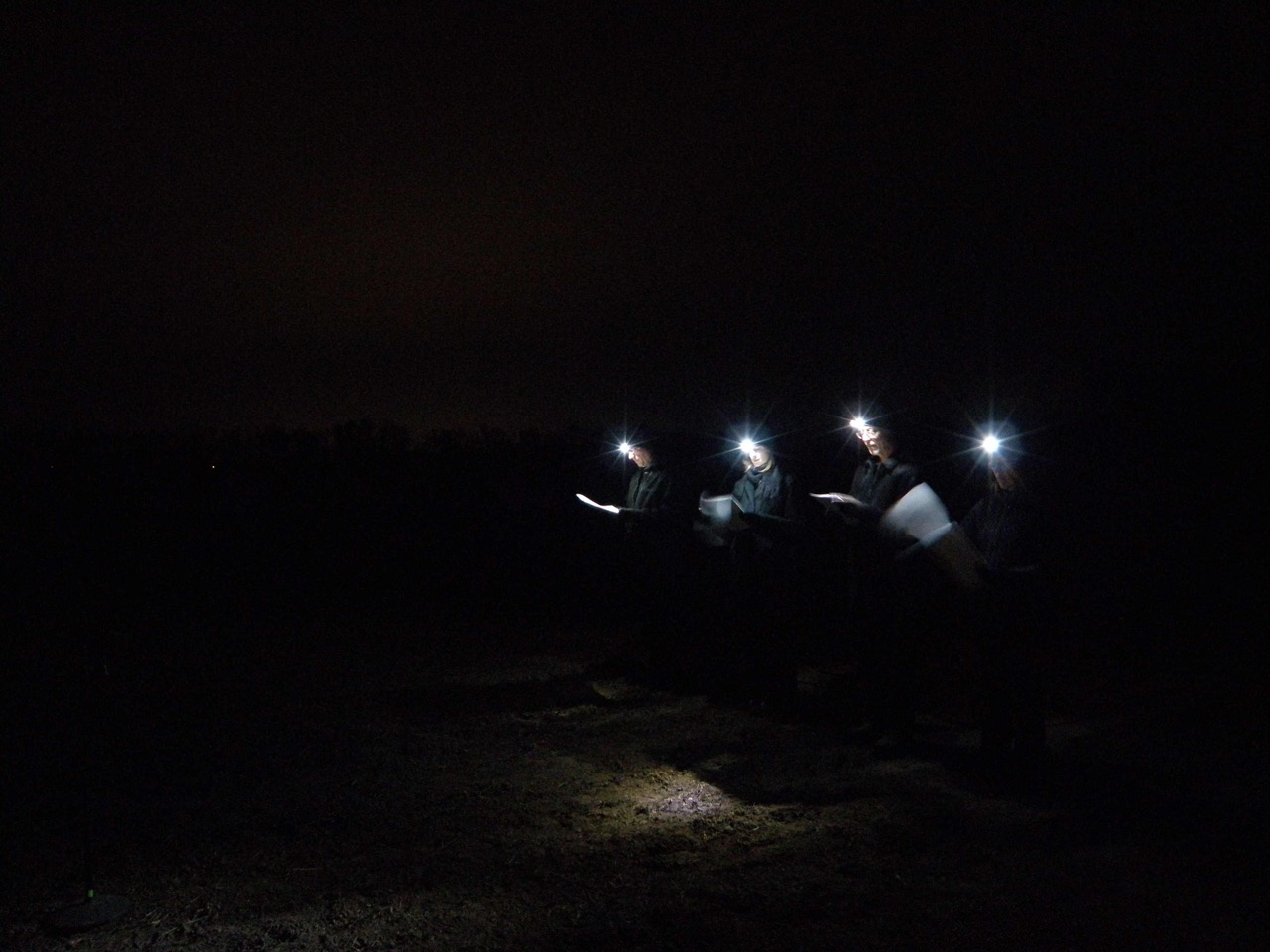 Unfinished Portrait: Iraq and Afghanistan, 2012, with the performance occurring after sunset.