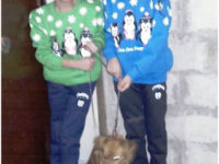 """Nagham and Lucy with their new puppy, """"Lucy"""" on December 6, 2016.Ghina's leg is much better and she is also receiving physical therapy in Damascus.Photo: Franklin Lamb"""
