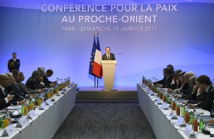 French President Francois Hollande delivers a speech at the Mideast peace conference in Paris
