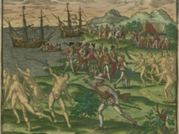 Colonial enslavement of Native Americans, An image from 1595 depicting conflict between Native Americans in Mexico and Spanish colonists led by Francisco de Montejo. Courtesy of the John Carter Brown Library at Brown University