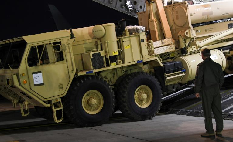 A Terminal High Altitude Area Defense (THAAD) interceptor arrives at Osan Air Base in Pyeongtaek, South Korea, in this handout picture provided by the United States Forces Korea (USFK) and released by Yonhap on March 7, 2017. USFK/Yonhap via REUTERS
