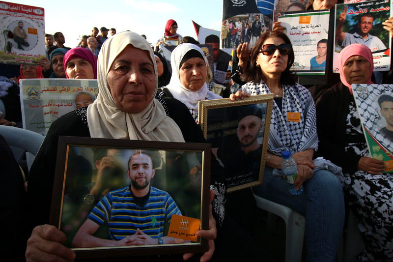 Palestinian mothers take part in a rally with hunger striking prisoners in the West Bank city of Ramallah on 3 May. Ahmad Al-Bazz ActiveStills