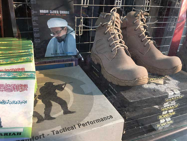 Islamic Defender's Front (FPI) goodies on display in Jakarta