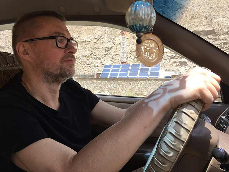 Author driving through Afghanistan
