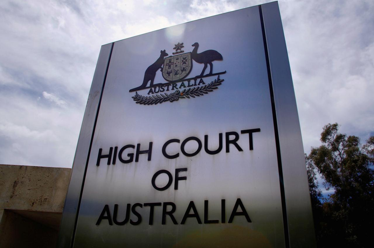 FILE PHOTO: A sign stands outside the High Court of Australia in Canberra, Australia, October 15, 2014.  REUTERS/David Gray/File photo