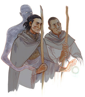 Above, two characters of the Earthsea world: Ged and Vetch (Ged is the one with the scars on his face). Behind Ged, the Shadow. A wonderful image by Paul Duffield.