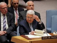 Palestinian President Mahmoud Abbas gestures during a meeting of the UN Security Council at UN headquarters in New York, U.S., February 20, 2018. REUTERS/Lucas Jackson