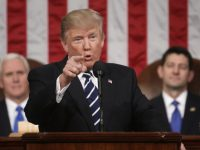FILE - In this Feb. 28, 2017, file photo, President Donald Trump addresses a joint session of Congress on Capitol Hill in Washington. as Vice President Mike Pence and House Speaker Paul Ryan of Wis. listen. Trump will deliver his first State of the Union address on Tuesday, Jan. 30, 2018. (Jim Lo Scalzo/Pool Image via AP, File) ORG XMIT: WX101