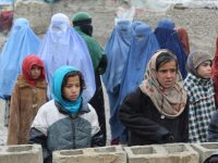 Girls and mothers, waiting for their duvets, in Kabul Photo credit: Dr. Hakim