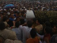 Thousands attend Shujaat Bukhari's funeral in North Kashmir's  Kreeri