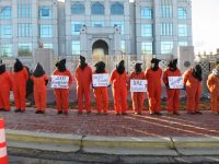 Photo credit: Witness Against Torture Photo caption: Witness Against Torture activists protest at the Embassy of the United Arab Emirates on January 9, 2018.