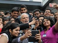 Toulouse: Prime Minister Narendra Modi takes a selfie with Indian employees during a visit to the Airbus facility in Toulouse, France on Saturday. PTI Photo (PTI4_11_2015_000097B)