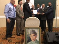 The members of Punjabi Business Association of Canada presenting the letter of thanks to Pakistani Consul in Vancouver Fahad Amjad (third from left)
