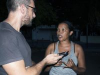 Green Left Weekly journalist Federico Fuentes with Maria Paez. Photo: Joe Montero.
