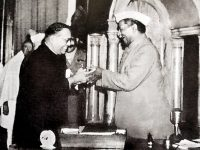 Dr. Babasaheb Ambedkar, chairman of the Drafting Committee, presenting the final draft of the Indian Constitution to Dr. Rajendra Prasad on 25 November, 1949