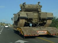 Israeli tank being moved towards Golan Heights