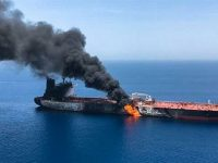 Fire and smoke billowing from Norwegian-owned Front Altair tanker said to have been attacked in the waters of the Sea of Oman on June 13, 2019 [Credit: ISNA]