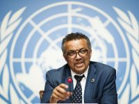 epa06747281 Tedros Adhanom Ghebreyesus, director general of the World Health Organization (WHO), attends a press conference at the European headquarters of the United Nations in Geneva, Switzerland, 18 May 2018. The WHO Director-General answered questions ahead of the World Health Assembly and following the meeting of an International Health Regulations Emergency Committee on Ebola in the Democratic Republic of the Congo.  EPA-EFE/VALENTIN FLAURAUD