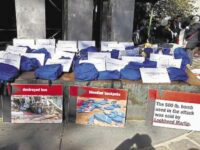 Some of the 40 blue backpacks worn in a protest in New York city against the war in Yemen. Each backpack was accompanied by a sign with the name and age of a child killed on a school bus in Dahyan, northern Yemen, on August 9, 2018, in a Saudi/UAE airstrike.Photo: CODEPINK