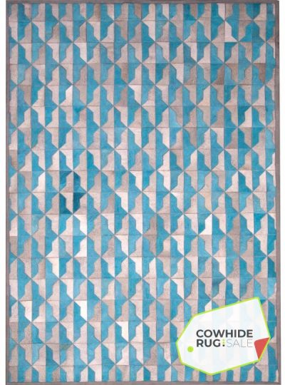 Blue And Gray Cowhide Rug 1