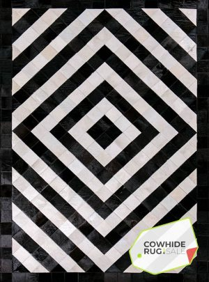 Concentric Diamond Cowhide Rug 1