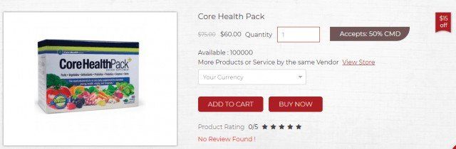 Price of CoreHealtPack in CoinMD marketplace
