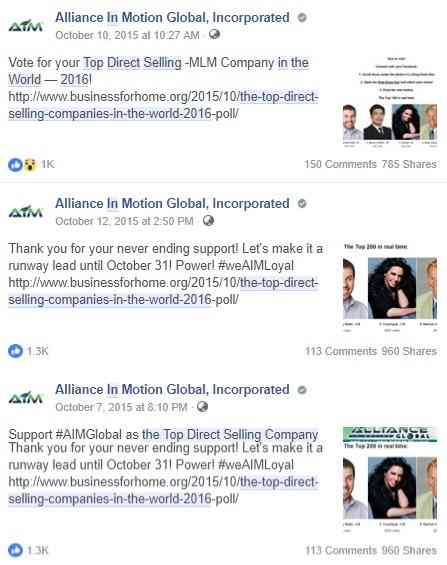 AIM Global as Top Direct Selling Company in 2016