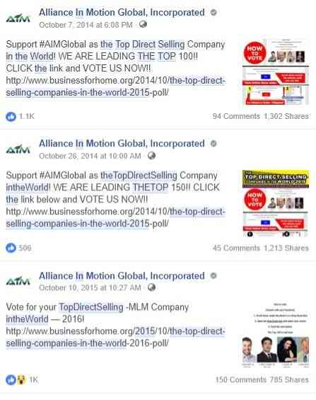 Alliance in Motion Global as Top Direct Selling MLM Facebook Campaign in 2015