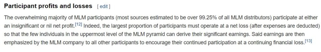 MLM Discussion on Wikipedia