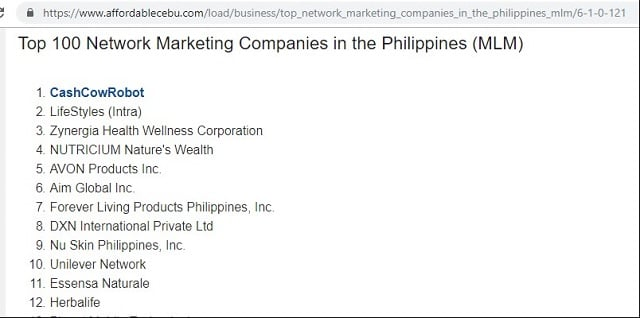 CashCowRobot as Number 1 MLM in the Philippines