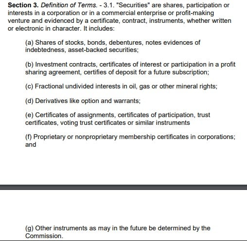 Section 3.1 of the Securities Regulations Code