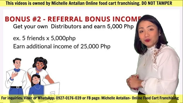 Rerferral income in Toktok online franchise.
