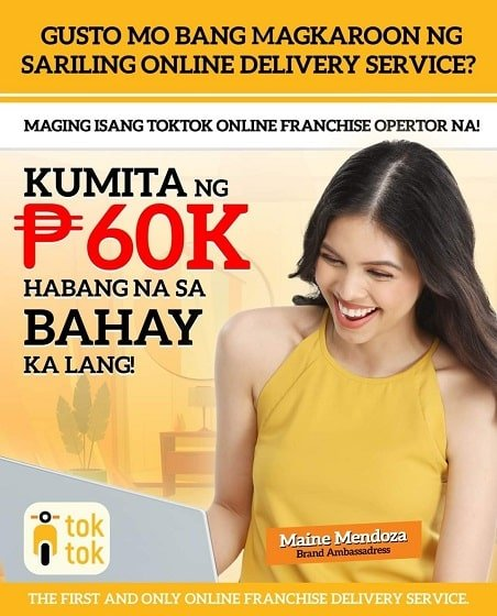Toktok Online Franchise Ads With Maine Mendoza
