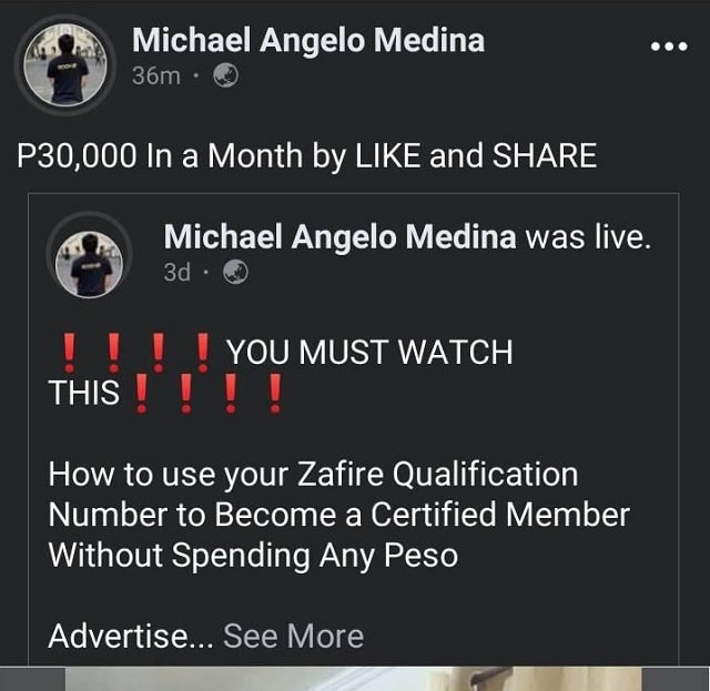 Promise of Income Just by Liking and Sharing of Zafire Natural Beauty and Wellness Products Student Financial Assistance Program