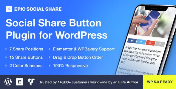 JUAL Epic Social Share Button for WordPress & Add Ons for Elementor & WPBakery Page Builder