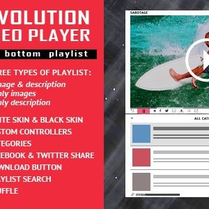 JUAL Revolution Video Player With Bottom Playlist - YouTube/Vimeo/Self-Hosted Support