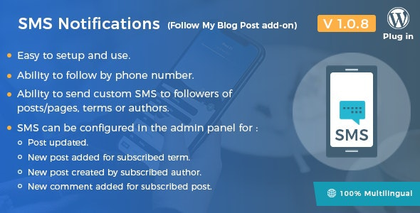 JUAL SMS Notifications - Follow My Blog Post add-on