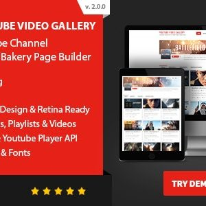 JUAL Youtube Video Gallery - Youtube Channel For WPBakery Page Builder