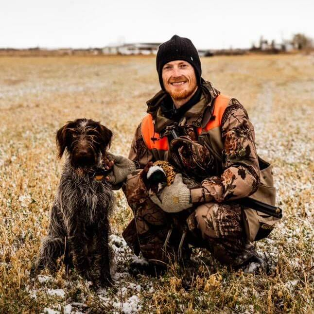 Wirehaired Pointing Griffon with handler and retrieved pheasant