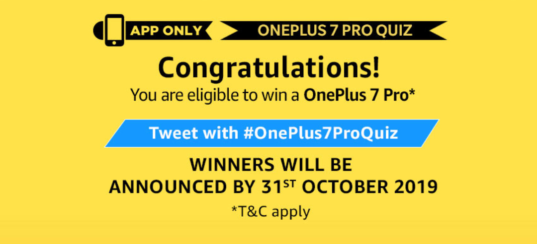 Amazon OnePlus 7 Pro Quiz completion
