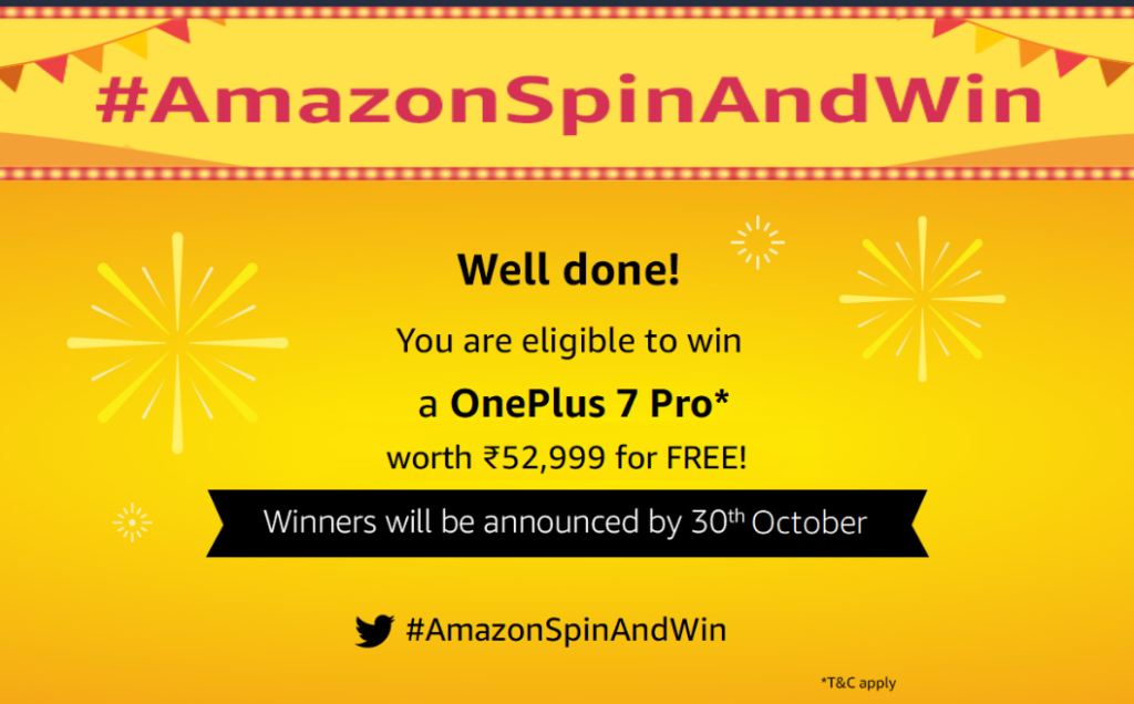 Amazon Spin and Win Contest